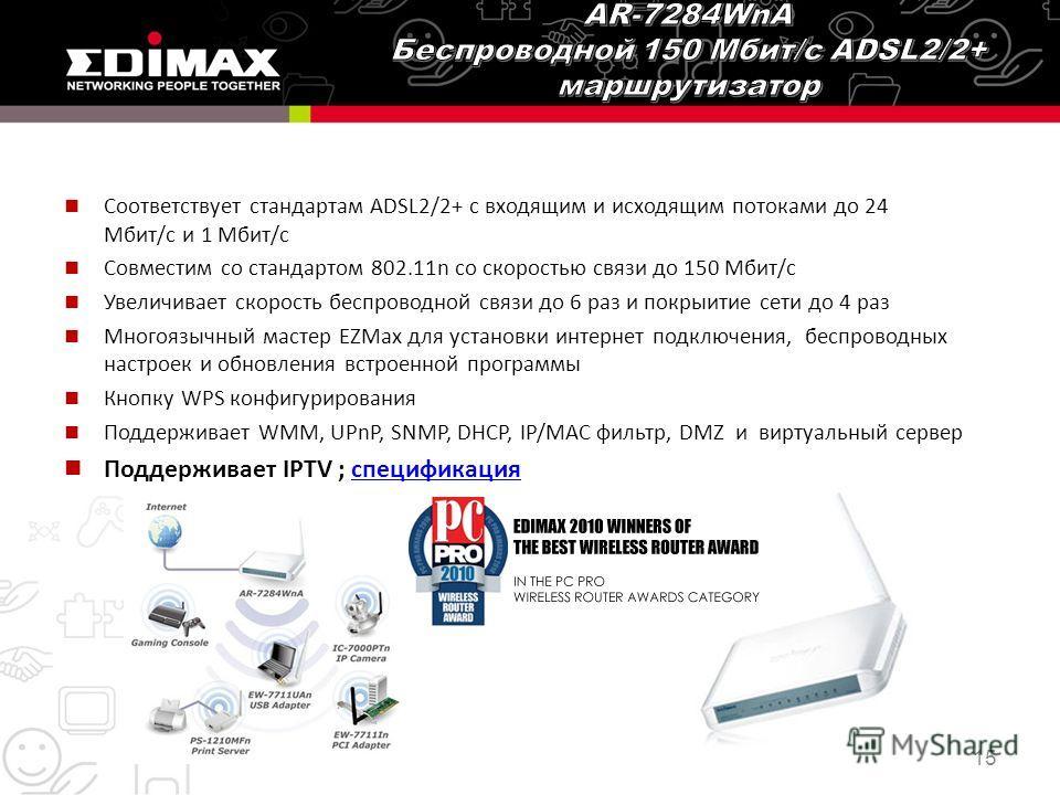 Соответствует стандартам ADSL2/2+ с входящим и исходящим потоками до 24 Мбит/с и 1 Мбит/с Совместим со стандартом 802.11n со скоростью связи до 150 Мбит/с Увеличивает скорость беспроводной связи до 6 раз и покрыитие сети до 4 раз Многоязычный мастер