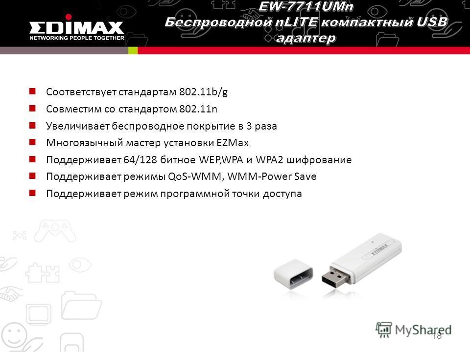 Соответствует стандартам 802.11b/g Совместим со стандартом 802.11n Увеличивает беспроводное покрытие в 3 раза Многоязычный мастер установки EZMax Поддерживает 64/128 битное WEP,WPA и WPA2 шифрование Поддерживает режимы QoS-WMM, WMM-Power Save Поддерж