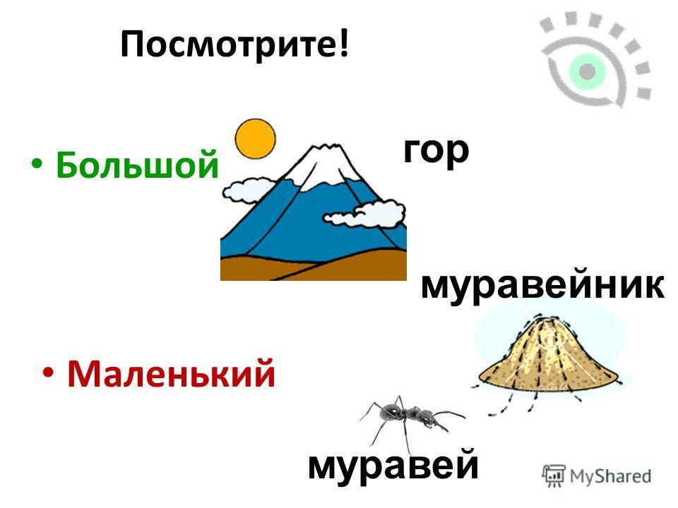 Большой Посмотрите! Маленький гор муравейник муравей