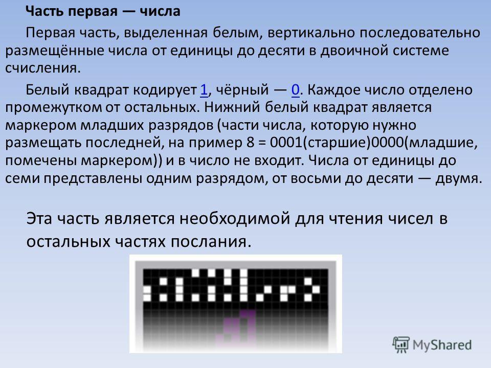 Часть первая числа Первая часть, выделенная белым, вертикально последовательно размещённые числа от единицы до десяти в двоичной системе счисления. Белый квадрат кодирует 1, чёрный 0. Каждое число отделено промежутком от остальных. Нижний белый квадр