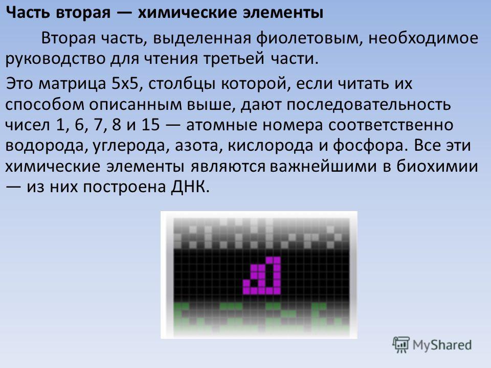 Часть вторая химические элементы Вторая часть, выделенная фиолетовым, необходимое руководство для чтения третьей части. Это матрица 5x5, столбцы которой, если читать их способом описанным выше, дают последовательность чисел 1, 6, 7, 8 и 15 атомные но
