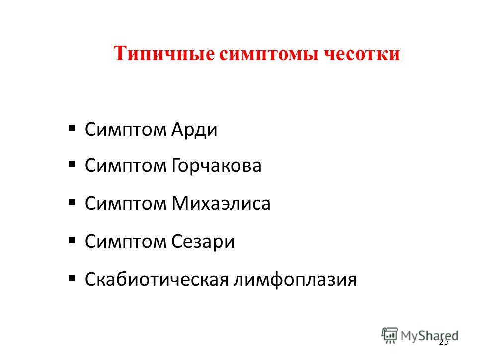 Типичные симптомы чесотки Симптом Арди Симптом Горчакова Симптом Михаэлиса Симптом Сезари Скабиотическая лимфоплазия 25