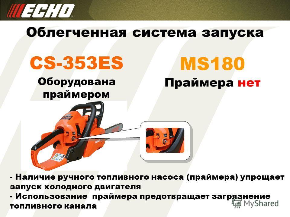 CS-353ES Облегченная система запуска MS180 Оборудована праймером Праймера нет - Наличие ручного топливного насоса (праймера) упрощает запуск холодного двигателя - Использование праймера предотвращает загрязнение топливного канала