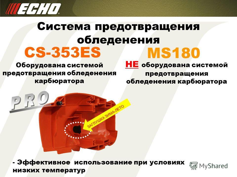 CS-353ES Система предотвращения обледенения MS180 Оборудована системой предотвращения обледенения карбюратора НЕ оборудована системой предотвращения обледенения карбюратора - Эффективное использование при условиях низких температур ЗАГЛУШКА ЗИМА-ЛЕТО