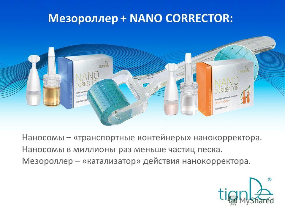 Мезороллер + NANO CORRECTOR: Наносомы – «транспортные контейнеры» нанокорректора. Наносомы в миллионы раз меньше частиц песка. Мезороллер – «катализатор» действия нанокорректора.