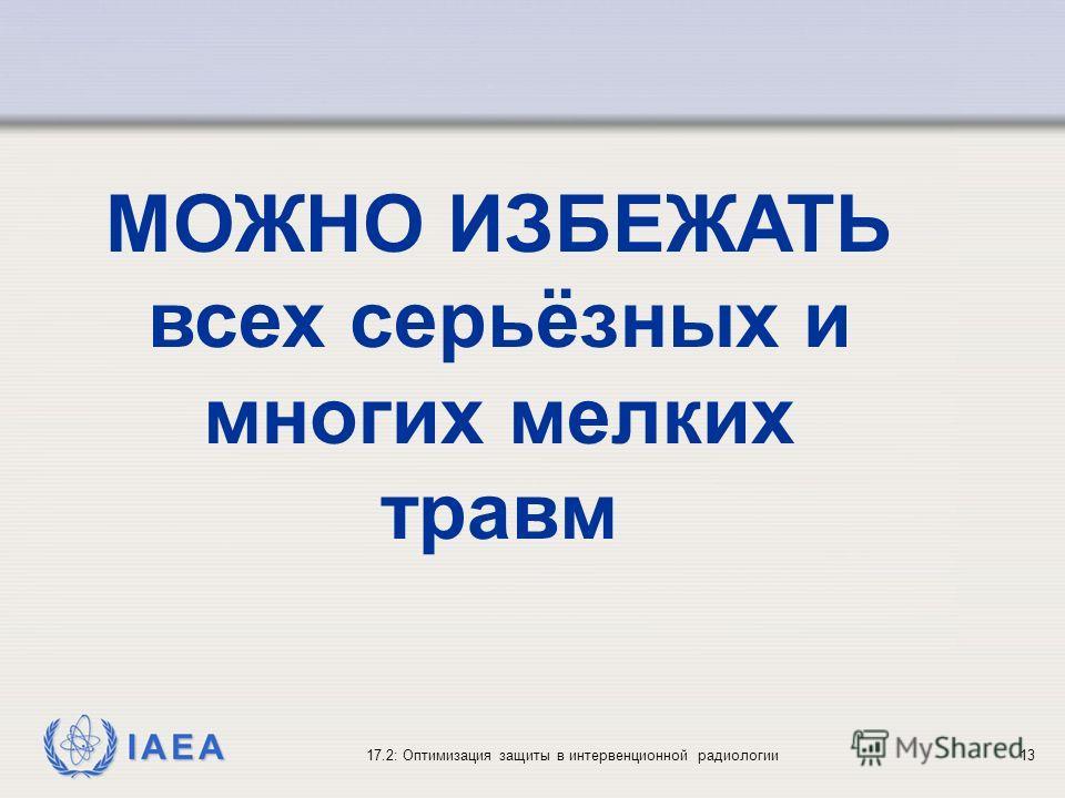 IAEA 17.2: Оптимизация защиты в интервенционной радиологии13 МОЖНО ИЗБЕЖАТЬ всех серьёзных и многих мелких травм