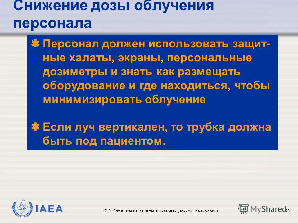 IAEA 17.2: Оптимизация защиты в интервенционной радиологии29 Персонал должен использовать защит- ные халаты, экраны, персональные дозиметры и знать как размещать оборудование и где находиться, чтобы минимизировать облучение Если луч вертикален, то тр