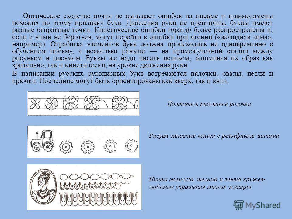 Оптическое сходство почти не вызывает ошибок на письме и взаимозамены похожих по этому признаку букв. Движения руки не идентичны, буквы имеют разные отправные точки. Кинетические ошибки гораздо более распространены и, если с ними не бороться, могут п
