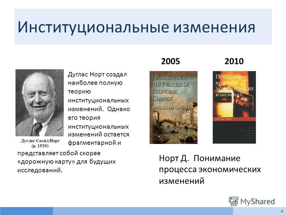 Институциональные изменения Дуглас Норт создал наиболее полную теорию институциональных изменений. Однако его теория институциональных изменений остается фрагментарной и представляет собой скорее «дорожную карту» для будущих исследований. 20052010 Но