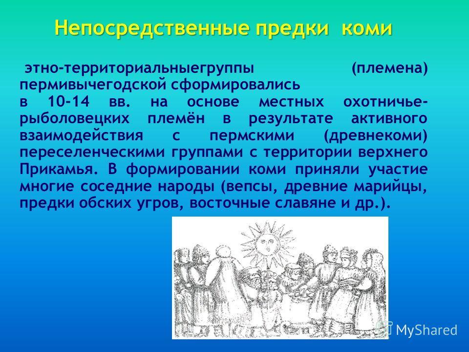 Непосредственные предки коми этно-территориальныегруппы (племена) пермивычегодской сформировались в 10-14 вв. на основе местных охотничье- рыболовецких племён в результате активного взаимодействия с пермскими (древнекоми) переселенческими группами с