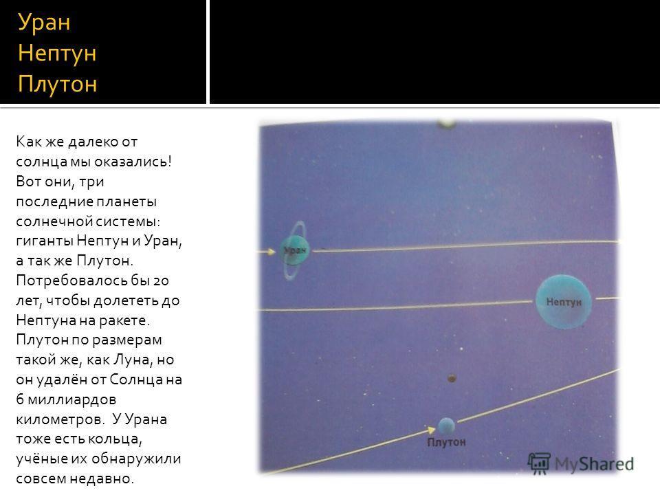 Уран Нептун Плутон Как же далеко от солнца мы оказались! Вот они, три последние планеты солнечной системы: гиганты Нептун и Уран, а так же Плутон. Потребовалось бы 20 лет, чтобы долететь до Нептуна на ракете. Плутон по размерам такой же, как Луна, но