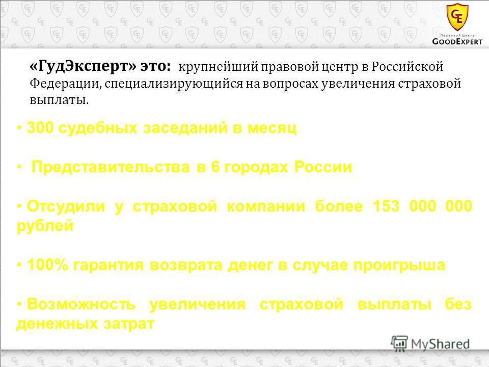 «ГудЭксперт» это: крупнейший правовой центр в Российской Федерации, специализирующийся на вопросах увеличения страховой выплаты. 300 судебных заседаний в месяц Представительства в 6 городах России Отсудили у страховой компании более 153 000 000 рубле