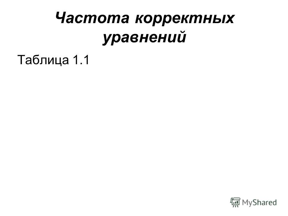 Частота корректных уравнений Таблица 1.1