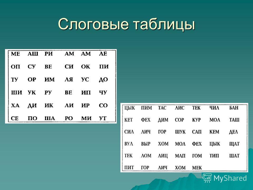Слоговые таблицы