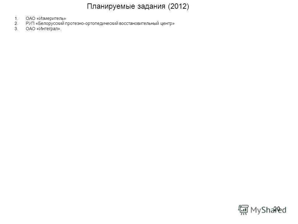 20 1.ОАО «Измеритель» 2.РУП «Белорусский протезно-ортопедический восстановительный центр» 3.ОАО «Интеграл». Планируемые задания (2012)