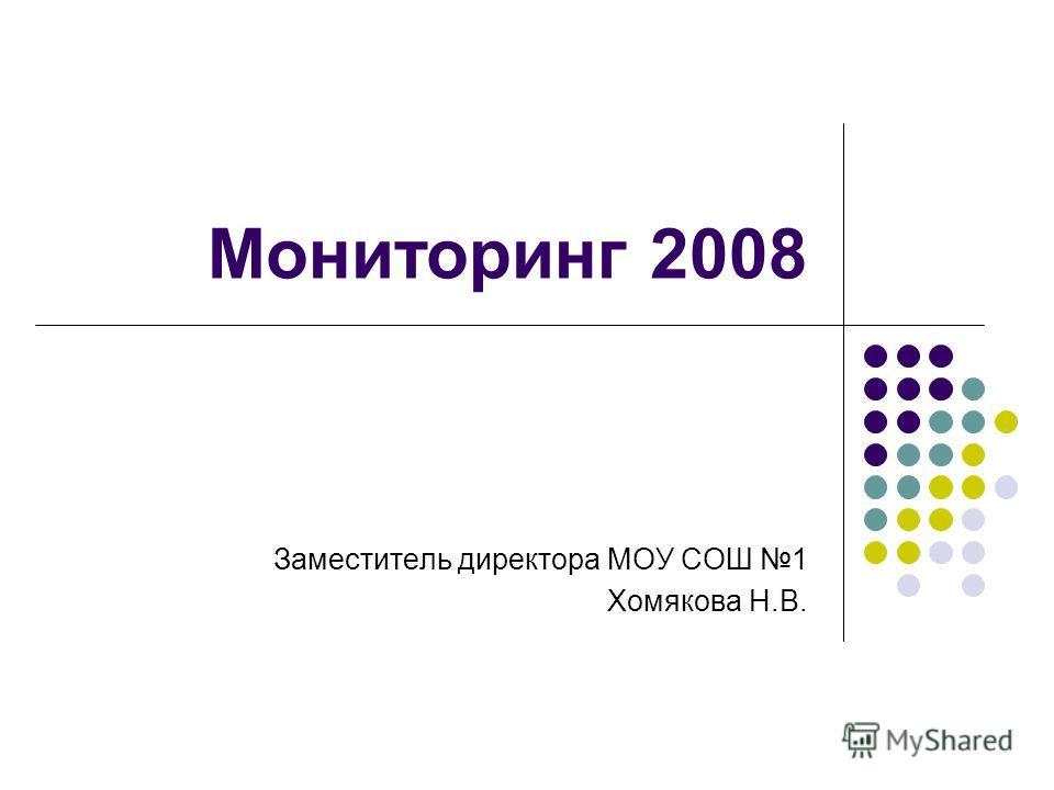 Мониторинг 2008 Заместитель директора МОУ СОШ 1 Хомякова Н.В.