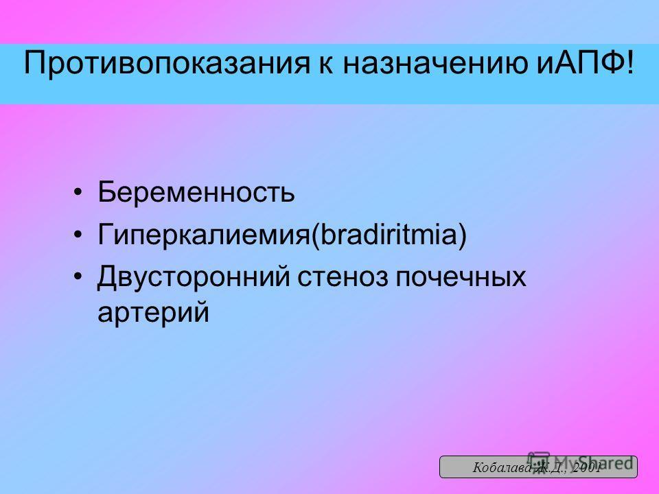 Противопоказания к назначению иАПФ! Беременность Гиперкалиемия(bradiritmia) Двусторонний стеноз почечных артерий Кобалава Ж.Д., 2001