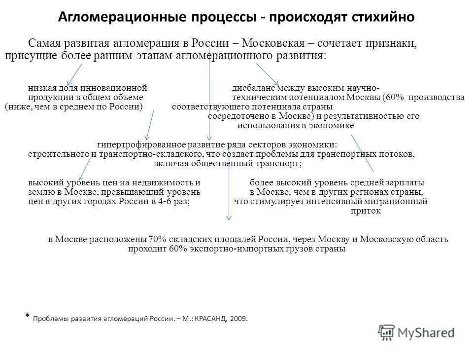 Агломерационные процессы - происходят стихийно Самая развитая агломерация в России – Московская – сочетает признаки, присущие более ранним этапам агломерационного развития: низкая доля инновационной дисбаланс между высоким научно- продукции в общем о