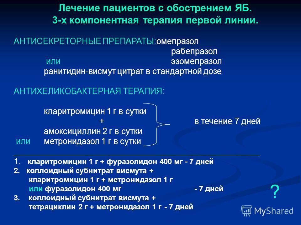 Лечение пациентов с обострением ЯБ. 3-х компонентная терапия первой линии. АНТИСЕКРЕТОРНЫЕ ПРЕПАРАТЫ:омепразол рабепразол или эзомепразол ранитидин-висмут цитрат в стандартной дозе АНТИХЕЛИКОБАКТЕРНАЯ ТЕРАПИЯ: кларитромицин 1 г в сутки + в течение 7