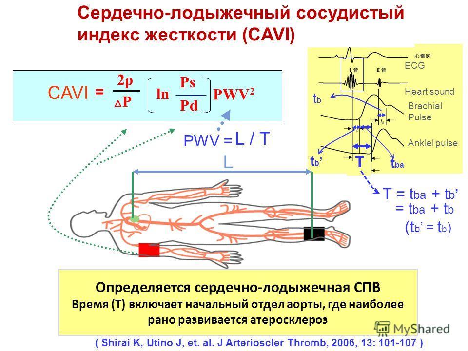 PWV = CAVI T = t ba + t b L ECG Heart sound Brachial Pulse Anklel pulse ( Shirai K, Utino J, et. al. J Arterioscler Thromb, 2006, 13: 101-107 ) Сердечно-лодыжечный сосудистый индекс жесткости (CAVI) t ba t b = t ba + t b (t b = t b ) tb tb T PWV 2 P