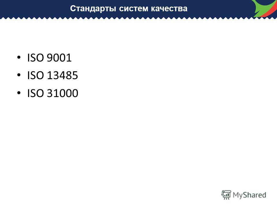 Стандарты систем качества ISO 9001 ISO 13485 ISO 31000