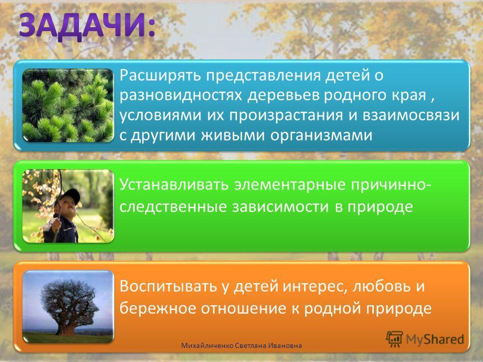 Расширять представления детей о разновидностях деревьев родного края, условиями их произрастания и взаимосвязи с другими живыми организмами Устанавливать элементарные причинно- следственные зависимости в природе Воспитывать у детей интерес, любовь и