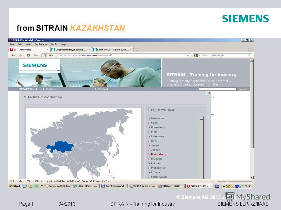 © Siemens AG 2013. All Rights Reserved. SIEMENS LLP/KZ/IIAASPage 104/2013SITRAIN - Training for Industry from SITRAIN KAZAKHSTAN