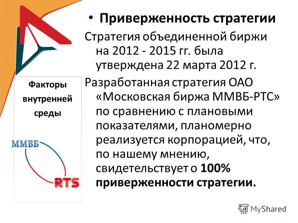 Приверженность стратегии Стратегия объединенной биржи на 2012 - 2015 гг. была утверждена 22 марта 2012 г. Разработанная стратегия ОАО «Московская биржа ММВБ-РТС» по сравнению с плановыми показателями, планомерно реализуется корпорацией, что, по нашем