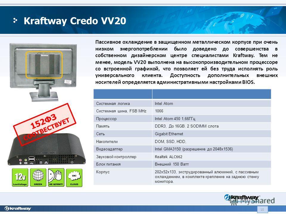 Пассивное охлаждение в защищенном металлическом корпусе при очень низком энергопотреблении было доведено до совершенства в собственном дизайнерском центре специалистами Kraftway. Тем не менее, модель VV20 выполнена на высокопроизводительном процессор