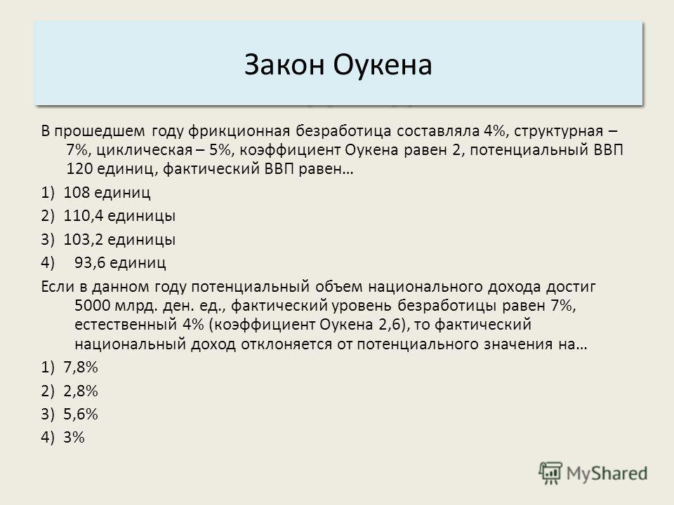Основные характеристики системы: 3. Структура. Закон Оукена В прошедшем году фрикционная безработица составляла 4%, структурная – 7%, циклическая – 5%, коэффициент Оукена равен 2, потенциальный ВВП 120 единиц, фактический ВВП равен… 1) 108 единиц 2)