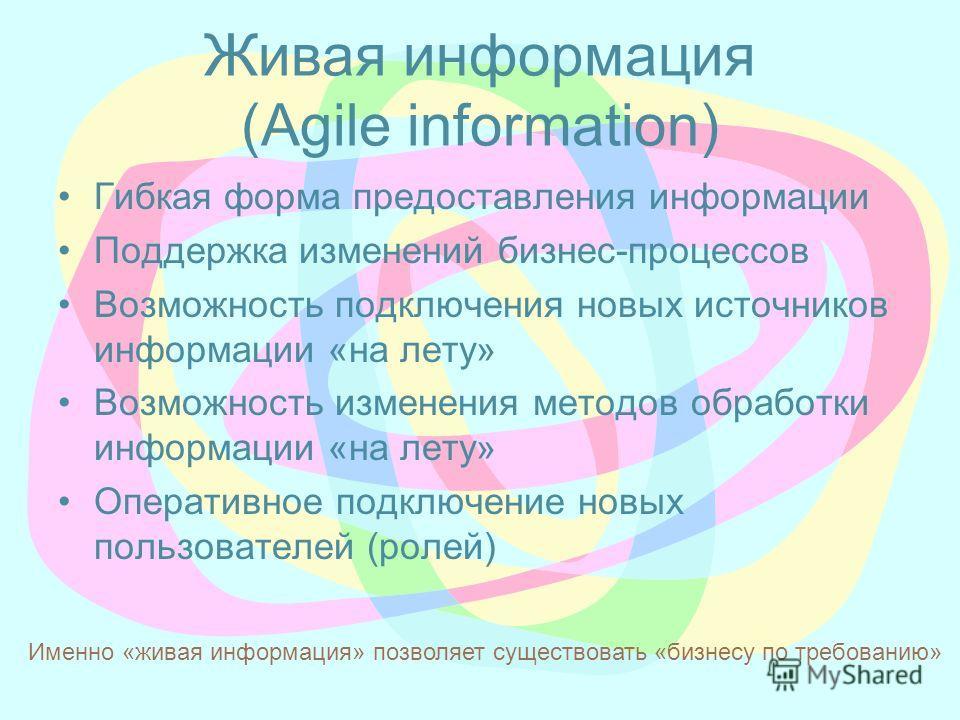 Живая информация (Agile information) Гибкая форма предоставления информации Поддержка изменений бизнес-процессов Возможность подключения новых источников информации «на лету» Возможность изменения методов обработки информации «на лету» Оперативное по