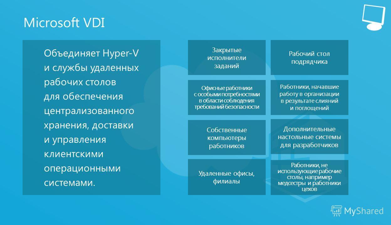 11 Microsoft VDI Объединяет Hyper-V и службы удаленных рабочих столов для обеспечения централизованного хранения, доставки и управления клиентскими операционными системами. Закрытые исполнители заданий Рабочий стол подрядчика Работники, начавшие рабо
