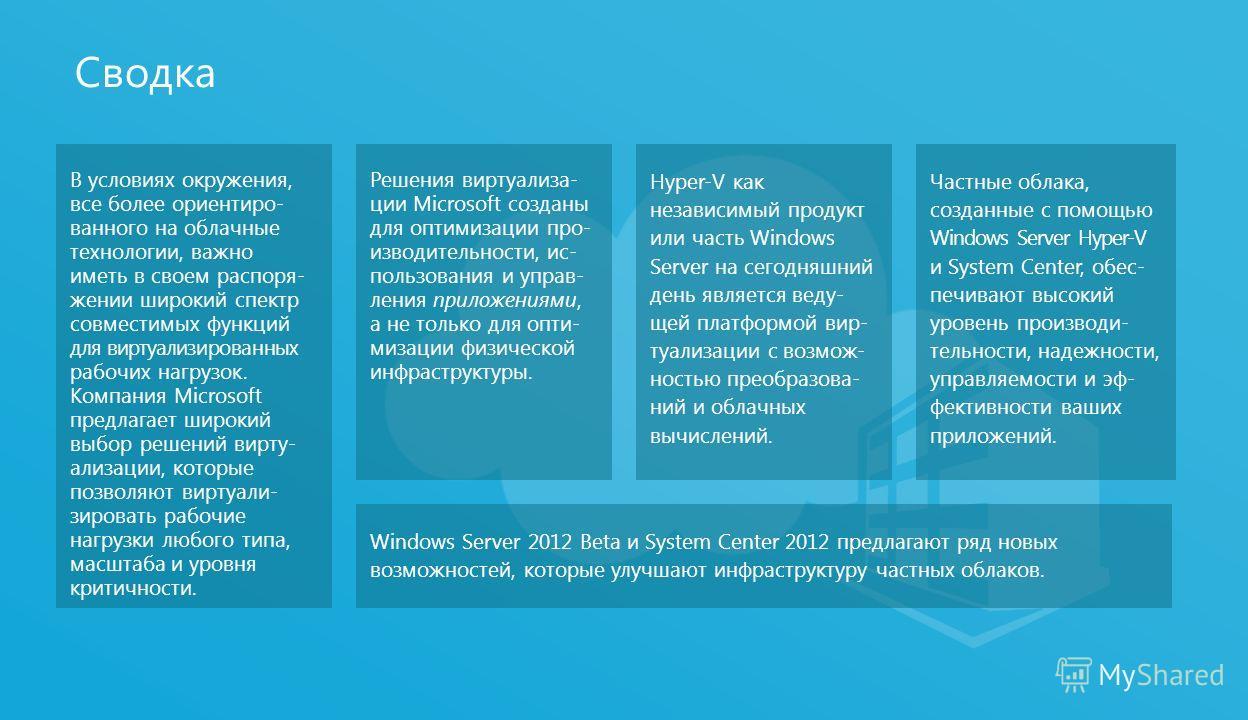 Сводка Windows Server 2012 Beta и System Center 2012 предлагают ряд новых возможностей, которые улучшают инфраструктуру частных облаков. Частные облака, созданные с помощью Windows Server Hyper-V и System Center, обес- печивают высокий уровень произв