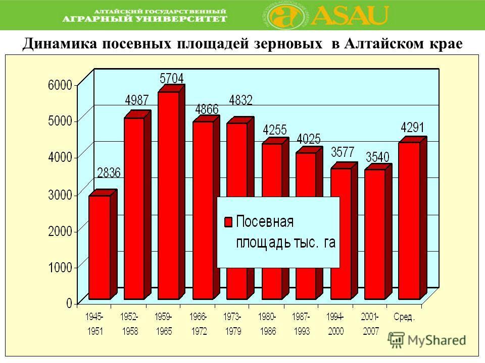 Динамика посевных площадей зерновых в Алтайском крае