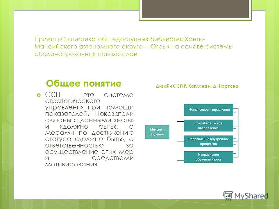 Проект «Статистика общедоступных библиотек Ханты- Мансийского автономного округа – Югры» на основе системы сбалансированных показателей Общее понятие ССП – это система стратегического управления при помощи показателей. Показатели связаны с данными «е