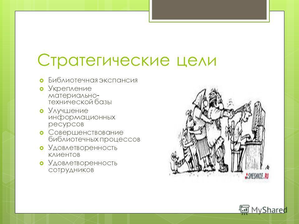 Стратегические цели Библиотечная экспансия Укрепление материально- технической базы Улучшение информационных ресурсов Совершенствование библиотечных процессов Удовлетворенность клиентов Удовлетворенность сотрудников