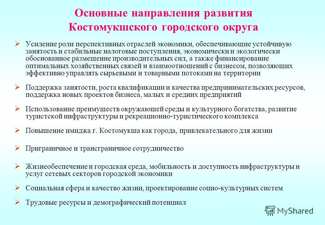 Основные направления развития Костомукшского городского округа Усиление роли перспективных отраслей экономики, обеспечивающие устойчивую занятость и стабильные налоговые поступления, экономически и экологически обоснованное размещение производительны