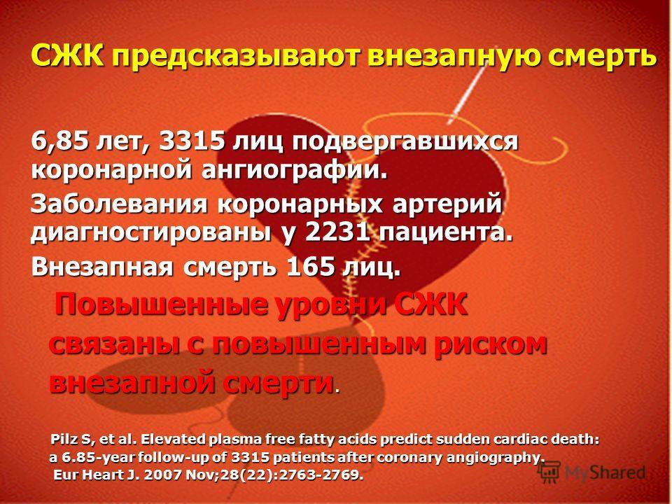 СЖК предсказывают внезапную смерть 6,85 лет, 3315 лиц подвергавшихся коронарной ангиографии. Заболевания коронарных артерий диагностированы у 2231 пациента. Внезапная смерть 165 лиц. Повышенные уровни СЖК Повышенные уровни СЖК связаны с повышенным ри