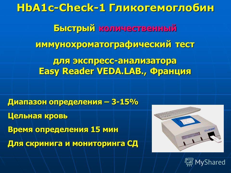 HbA1c-Check-1 Гликогемоглобин Быстрый количественный иммунохроматографический тест для экспресс-анализатора Easy Reader VEDA.LAB., Франция Диапазон определения – 3-15% Цельная кровь Время определения 15 мин Для скринига и мониторинга СД
