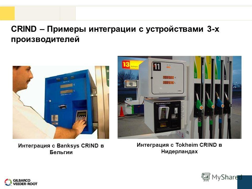 CRIND – Примеры интеграции с устройствами 3-х производителей Интеграция с Banksys CRIND в Бельгии Интеграция с Tokheim CRIND в Нидерландах