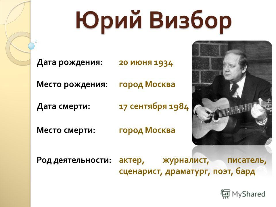Юрий Визбор Дата рождения :20 июня 1934 Место рождения : город Москва Дата смерти :17 сентября 1984 Место смерти : город Москва Род деятельности : актер, журналист, писатель, сценарист, драматург, поэт, бард