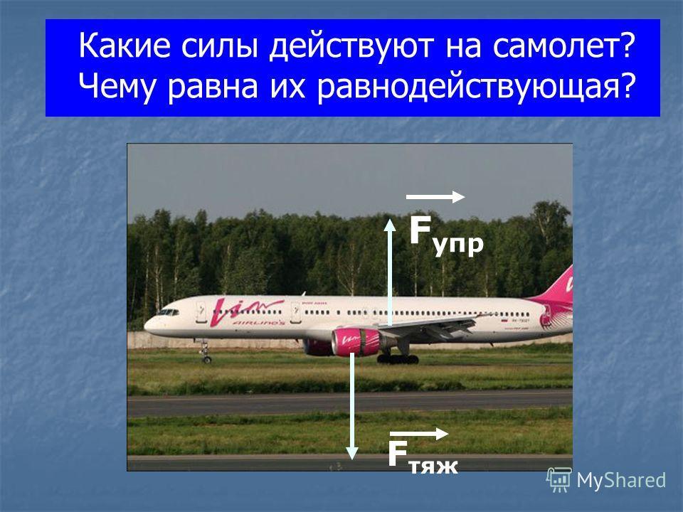 Какие силы действуют на самолет? Чему равна их равнодействующая? F тяж F упр