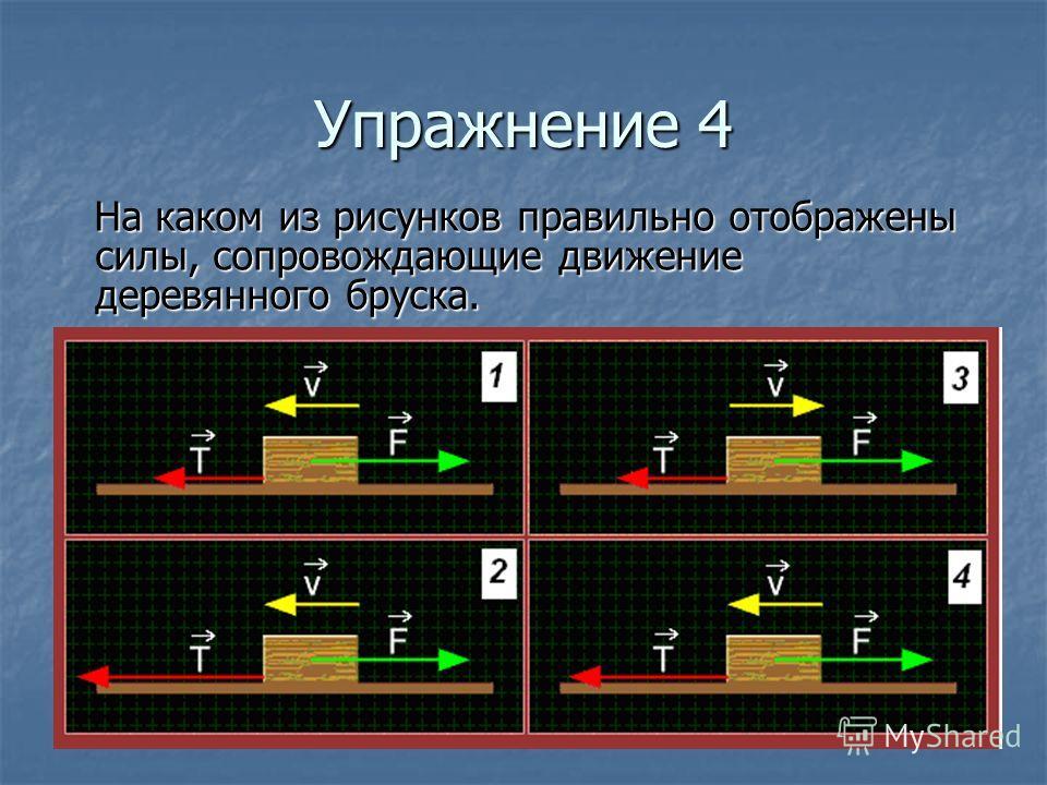 Упражнение 4 На каком из рисунков правильно отображены силы, сопровождающие движение деревянного бруска. На каком из рисунков правильно отображены силы, сопровождающие движение деревянного бруска.