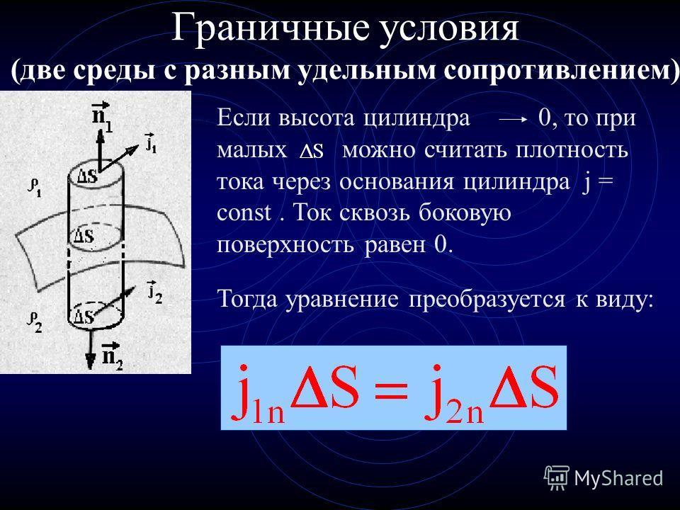 Граничные условия (две среды с разным удельным сопротивлением) Если высота цилиндра 0, то при малых можно считать плотность тока через основания цилиндра j = const. Ток сквозь боковую поверхность равен 0.