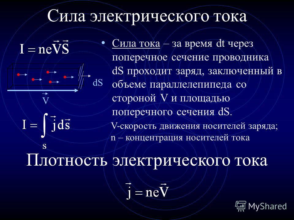 Сила электрического тока Сила тока равна величине заряда, проходящего в единицу времени через полное сечение проводника. Ток – величина скалярная Плотность электрического тока Плотность тока равна величине тока, проходящего через единицу площади попе