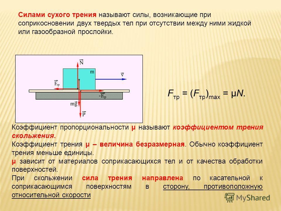 F тр = (F тр ) max = μN. Коэффициент пропорциональности μ называют коэффициентом трения скольжения. Коэффициент трения μ – величина безразмерная. Обычно коэффициент трения меньше единицы. μ зависит от материалов соприкасающихся тел и от качества обра
