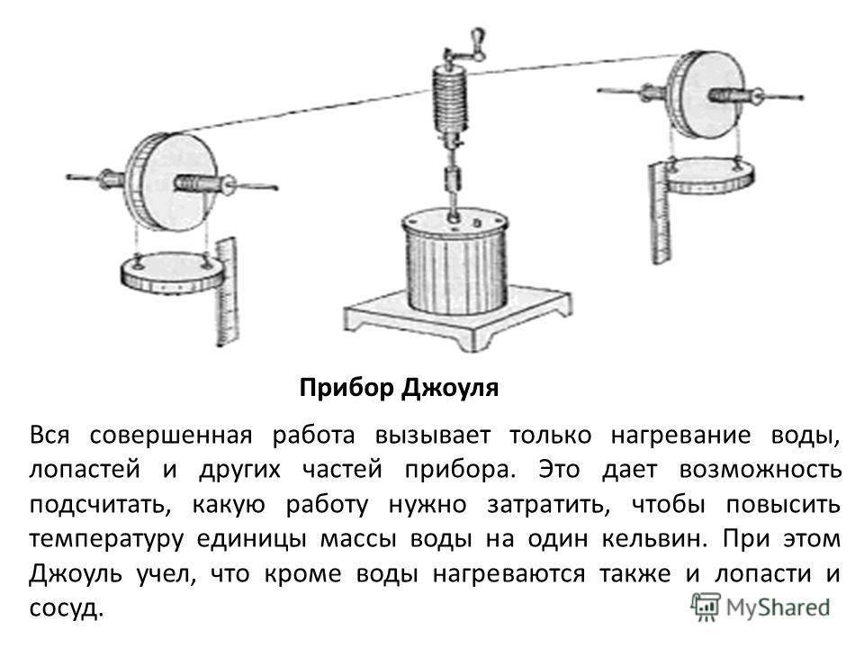 Прибор Джоуля Вся совершенная работа вызывает только нагревание воды, лопастей и других частей прибора. Это дает возможность подсчитать, какую работу нужно затратить, чтобы повысить температуру единицы массы воды на один кельвин. При этом Джоуль учел