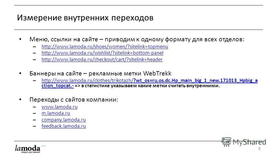 Меню, ссылки на сайте – приводим к одному формату для всех отделов: – http://www.lamoda.ru/shoes/women/?sitelink=topmenu http://www.lamoda.ru/shoes/women/?sitelink=topmenu – http://www.lamoda.ru/wishlist/?sitelink=bottom-panel http://www.lamoda.ru/wi