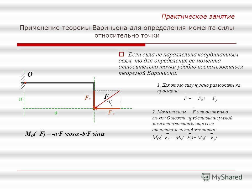 Е сли сила не параллельна координатным осям, то для определения ее момента относительно точки удобно воспользоваться теоремой Вариньона. F xF x в F Практическое занятие Применение теоремы Вариньона для определения момента силы относительно точки F yF