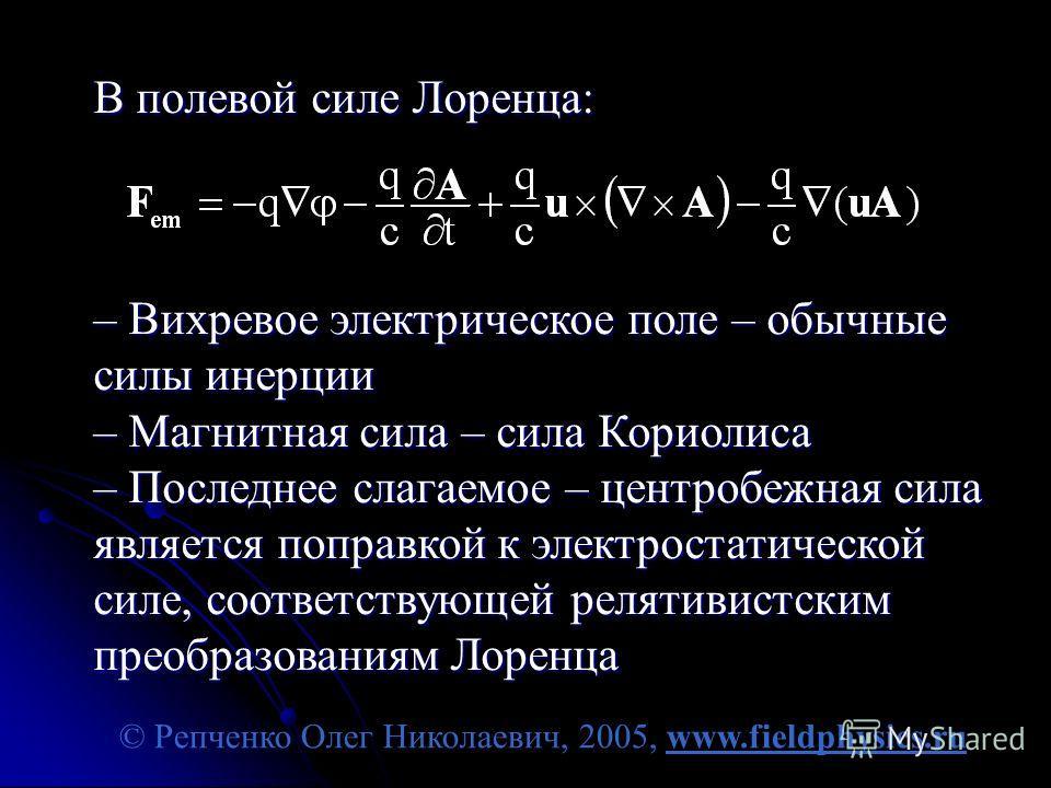 © Репченко Олег Николаевич, 2005, www.fieldphysics.ru В полевой силе Лоренца: – Вихревое электрическое поле – обычные силы инерции – Магнитная сила – сила Кориолиса – Последнее слагаемое – центробежная сила является поправкой к электростатической сил